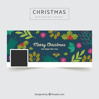 Vintage christmas cover with flowers and leaves