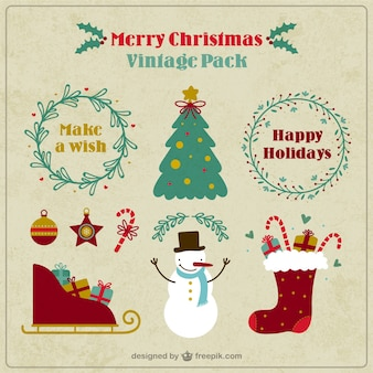Vintage christmas elements pack