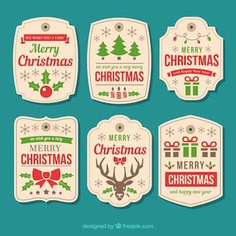 Vintage christmas labels set
