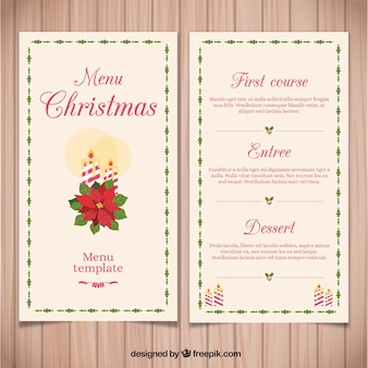 Vintage christmas menu with easter flower