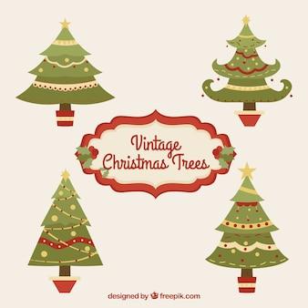 ヴィンテージクリスマスツリー、フラットデザインでセット