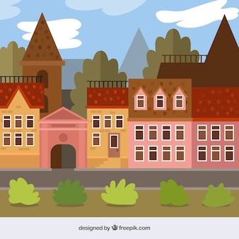 Vintage city background in flat design