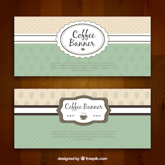 Vintage coffee banners with decorative ribbon