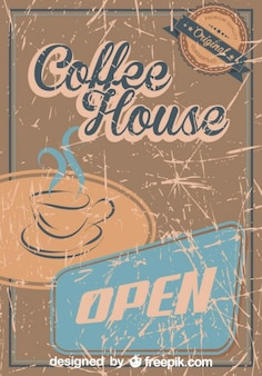 Vintage Coffee Grunge Poster Coffee House