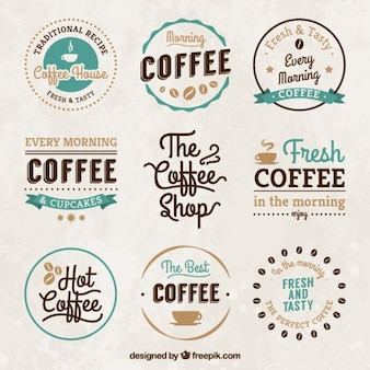Vintage coffee house badges