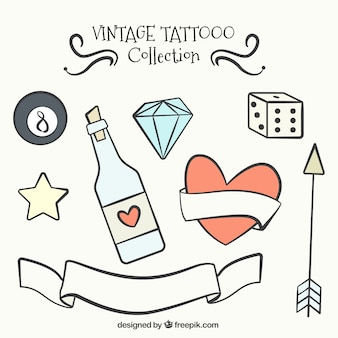 Vintage collection of beautiful tattoos