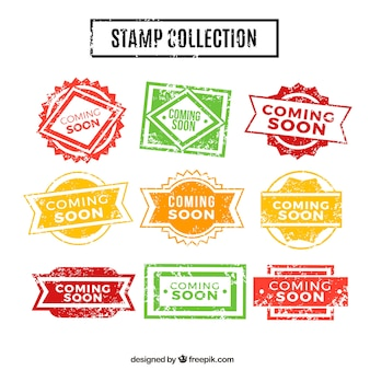 Vintage collection of coming soon stamps