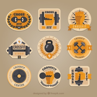 Vintage collection of crossfit stickers