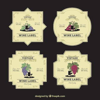 Vintage collection of decorative wine labels