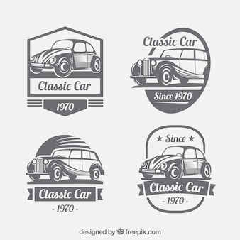 Vintage collection of logos with classic cars