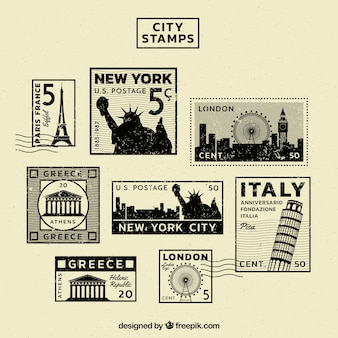 Vintage collection of stamps of different cities