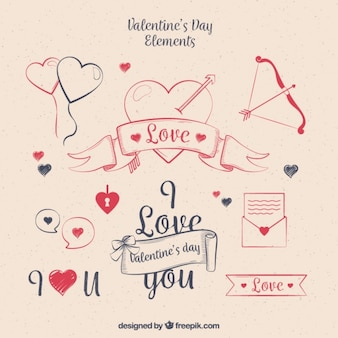 Vintage collection of valentine's day elements