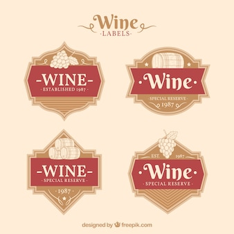 Vintage collection of wine labels