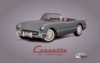 Vintage Corvette illustration american car