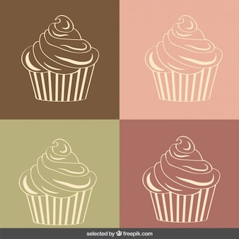 Vintage cupcakes illustration