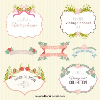 vintage cute floral labels