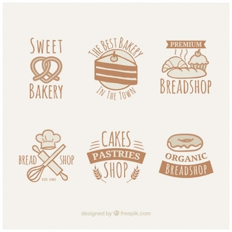 Vintage cute hand drawn bakery badges