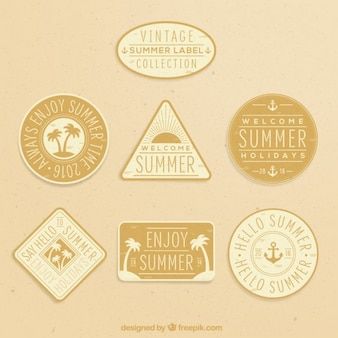 Vintage cute summer labels in yellow tones