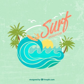Vintage cute surf background