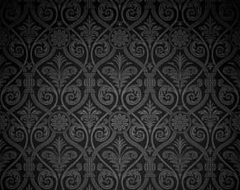 Vintage dark damask pattern background