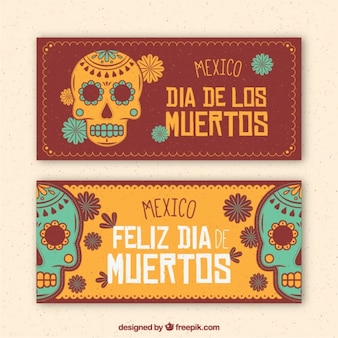 Vintage decorative banners of mexican skulls