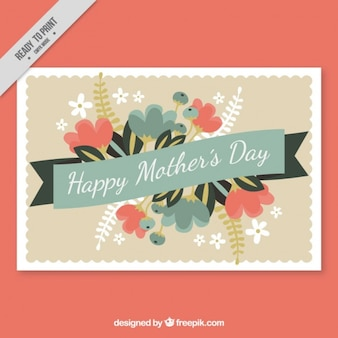 Vintage decorative mother's day card with flowers