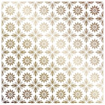 東洋風のヴィンテージデザインエレメント。花の装飾とベクトルシームレスなパターン。オーナメントレースの文房具。壁紙のための金色の華やかなイラスト。明るい背景に、伝統的なアラビア語の装飾。