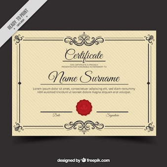 Vintage diploma template