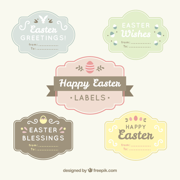 Vintage Easter labels set