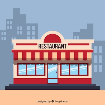 Vintage facade restaurant in flat style