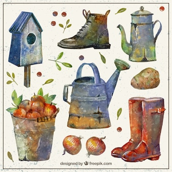 Vintage farm elements in watercolor