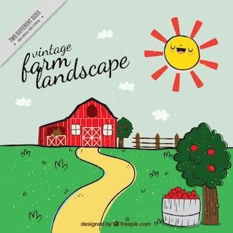 Vintage farm landscape