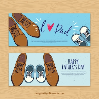 Vintage father's day banners with shoes