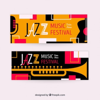 Vintage festival jazz banners