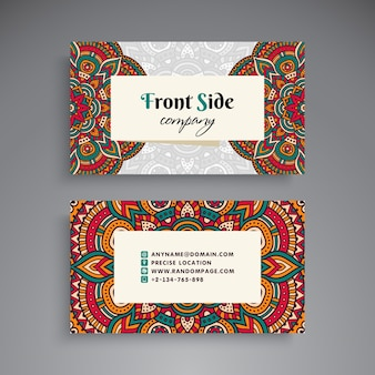 Vintage floral business card with mandala decoration