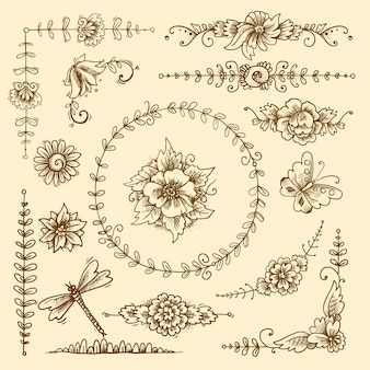 Vintage floral calligraphic decorative elements sketch set with flowers and butterflies isolated vector illustration