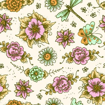 Vintage floral colored seamless pattern