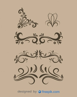 Vintage Floral Design Elements Set