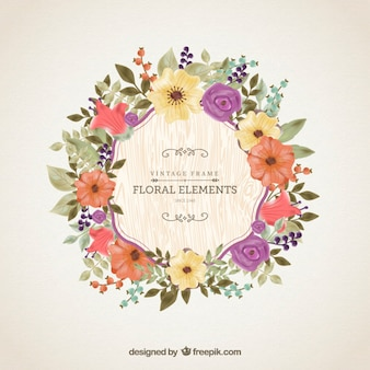 Vintage floral frame in watercolor style