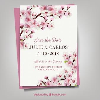 ヴィンテージの花の招待状
