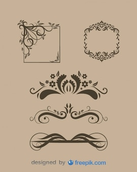 Vintage Floral Text Dividers and Frames Set