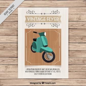Vintage flyer of a green motorbike