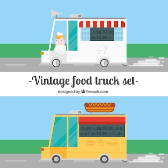Vintage food trucks in flat design