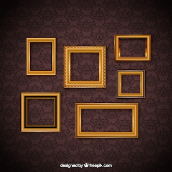 Vintage frame set and decorative wallpaper
