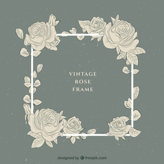 Vintage frame with hand drawn roses