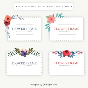 Vintage frames with watercolor flowers