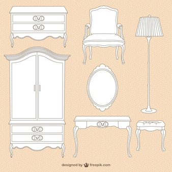 Vintage furniture illustrations