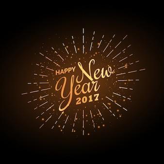 Vintage golden happy year background 2017