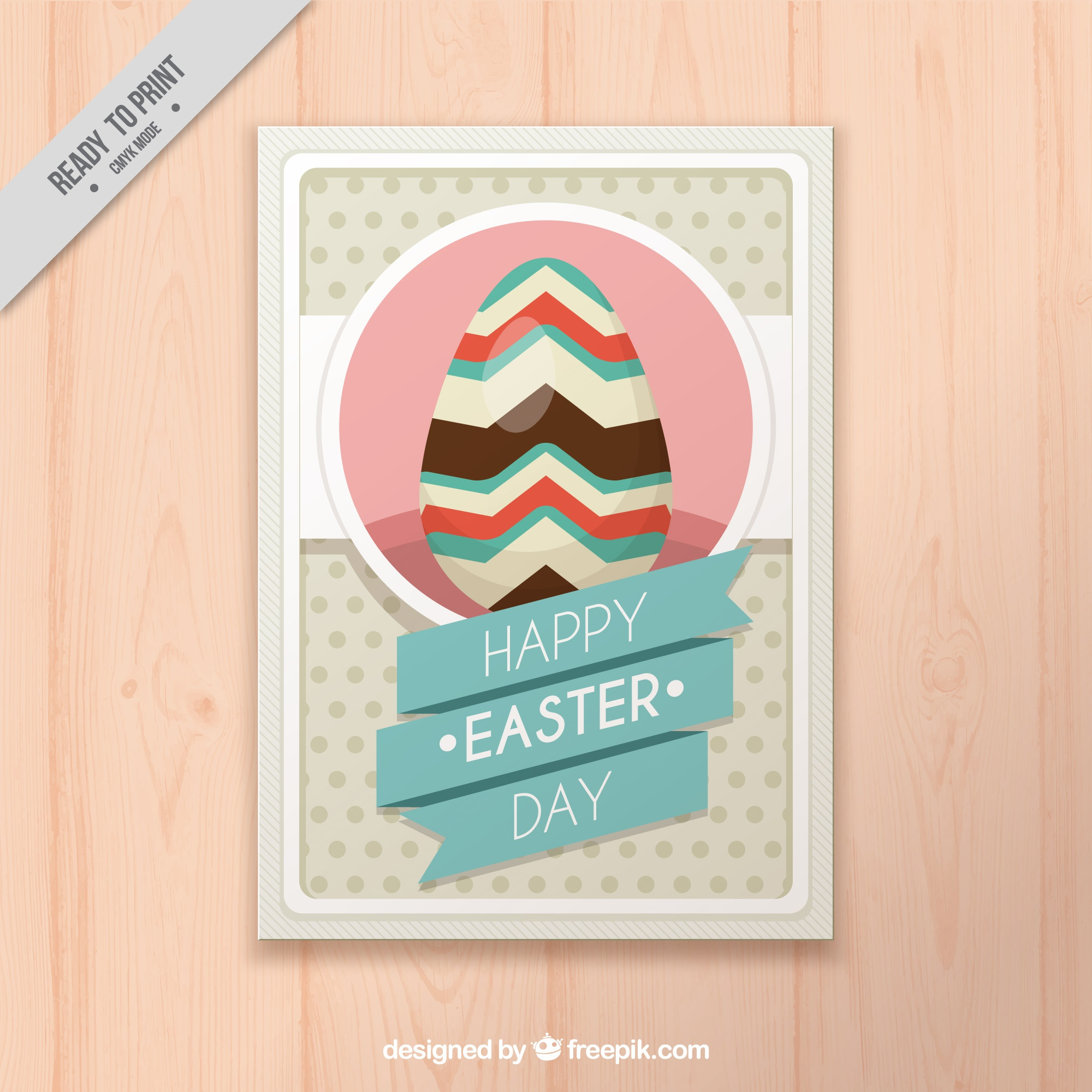 Vintage greeting card with easter egg