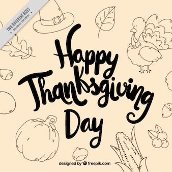 Vintage greeting thanksgiving background with sketches